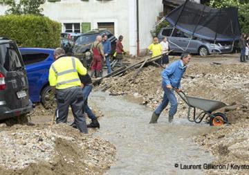 Heftige Gewitter im Val-de-Ruz im Kanton Neuenburg